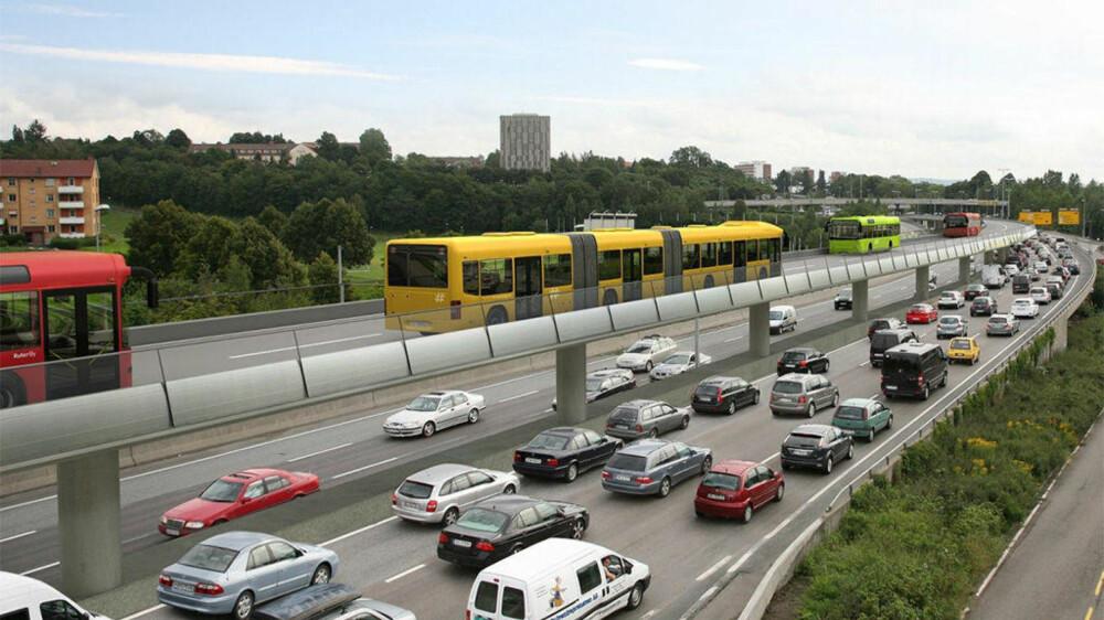 Hvor mye bedre plass hadde det vært på veien i rushtiden om et stort antall av bilene ble byttet ut med tohjulinger? I stedet ser Ruter for seg muligheten til å bygge opphøyde bussveier.
