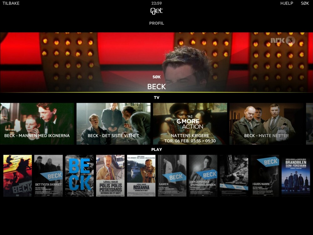 FLERE KILDER: Om du søker på en serie, vil den nye appen automatisk hente relevant informasjon både fra kommende TV-sendinger og tilgjengelige streamingtjenester.