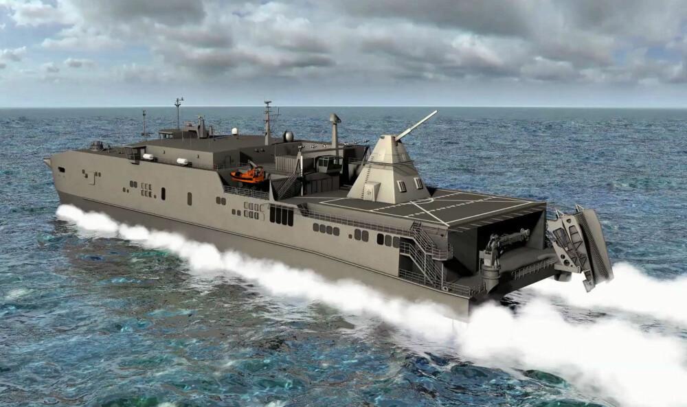 FRYKTINNGYTENDE KANON: På denne modellen ser vi den elektromagnetiske kanonen montert på et amerikansk høyhastighetsskip. Våpenet kan treff mål 160 kilometer unna i en hastighet på 8000 kilometer i timen.