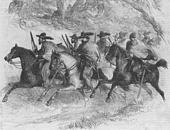 LOVMANN: Etter borgerkrigen ble Slaughter en Texas Ranger. Her en tegning av en gruppe «Rangers» fra cirka 1845.