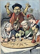 Karikatur fra tidlig på 1900-tallet som viser hvordan stormaktene delte Kina mellom seg.