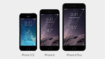 FRA S TIL PLUSS: Her ser du dagens iPhone 5S (t.v.) sammen med iPhone 6 og iPhone 6 Plus.