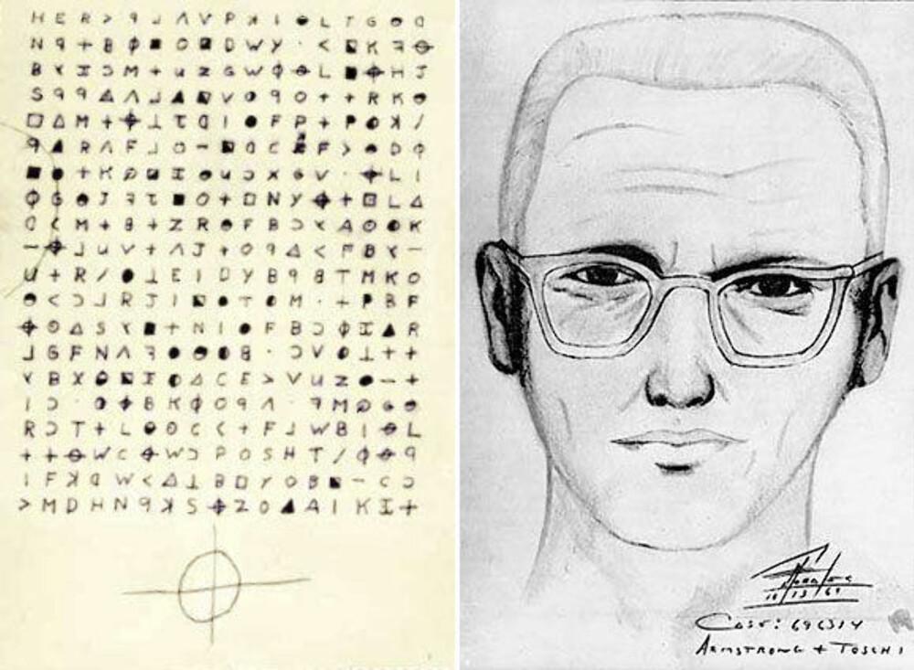 ZODIAC-MORDEREN: Fantomtegning av Zodiac-morderen fra 1969, sammen med et av kryptogrammene han laget.