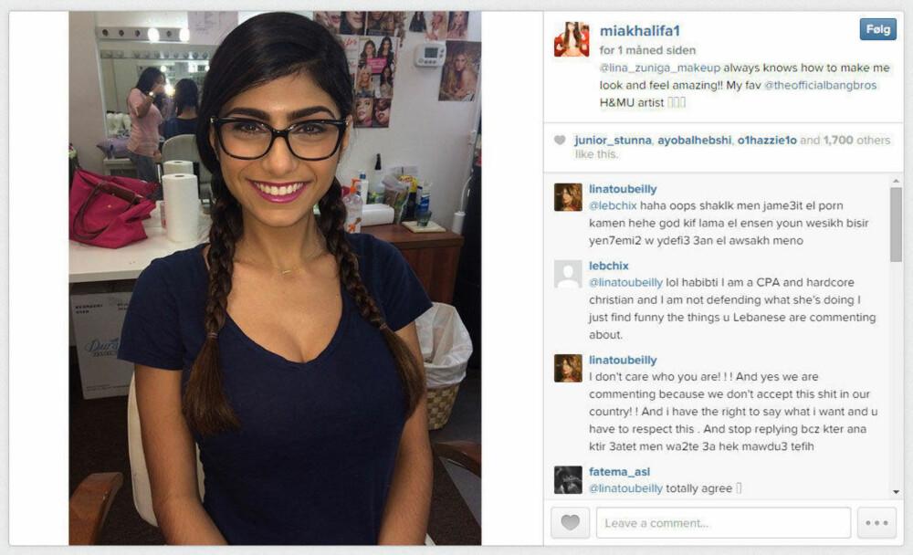 MIA KHALIFA: Den 21 år gamle studenten er nå den pornostjernen folk søker mest etter på en av verdens største nettsider. Hun bor i USA, men er født i Libanon. Hun er svært aktiv på Instagram, og har om lag 140.000 følgere. I begynnelsen av januar 2015 har hun fått kraftig kritikk fra enkelte grupperinger i sosiale medier.