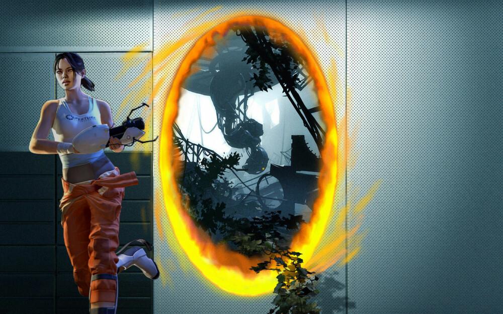Bildet illustrerer spillet Portal 2.