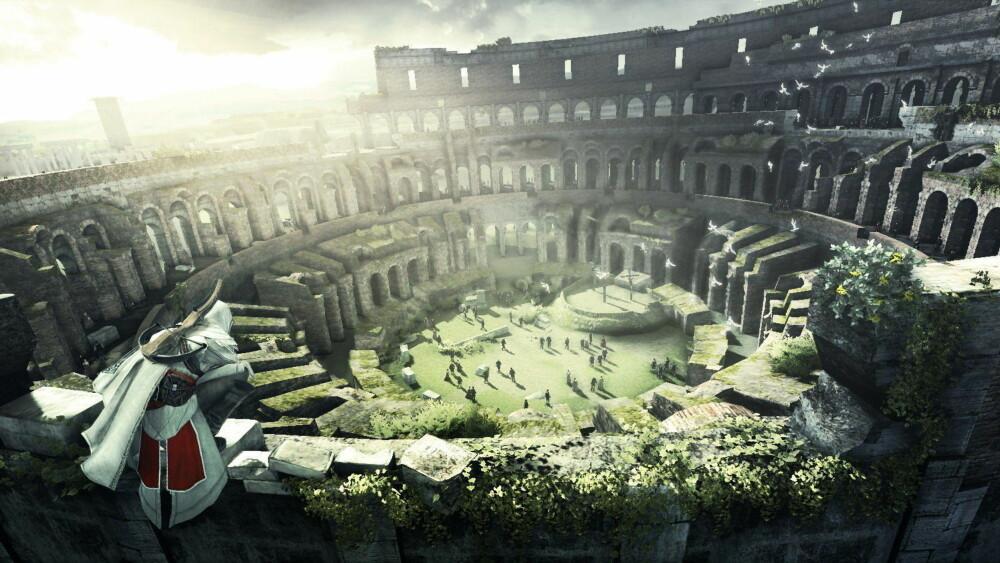 Action-eventyret «Assassin's Creed» blitt brukt til å undervise historie. Spillet lar en utforske historiske steder og hendelser, her er hovedpersonen i ruinene av Colosseum. Foto: Ubisoft