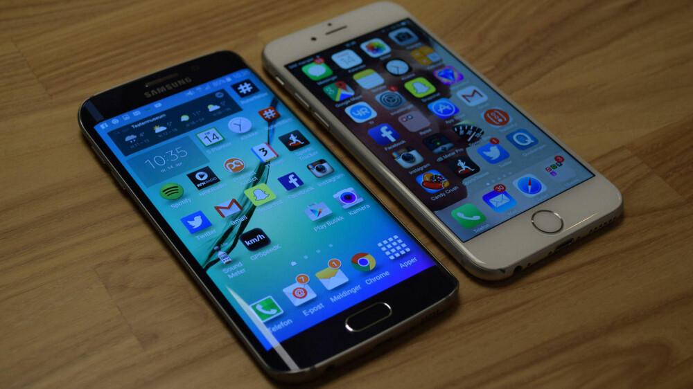 Galaxy S6 Edge og iPhone 6 er omtrent like store - og direkte konkurrenter.