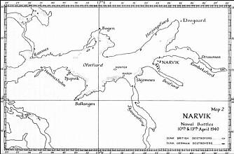 Britisk kart som viser resultatet av det første sjøslaget.