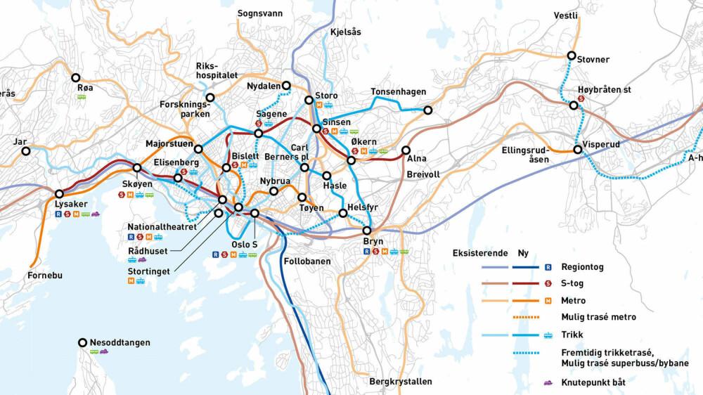 """De største endringene i forslaget som legges frem er en ny T-banetunnel mellom Marjorstuen og Bryn, T-bane til Fornebu, trikk langs Ring 2 og Trondheimsveien - og opprettelsen av flere """"knutepunkter"""" med høy frekvens."""