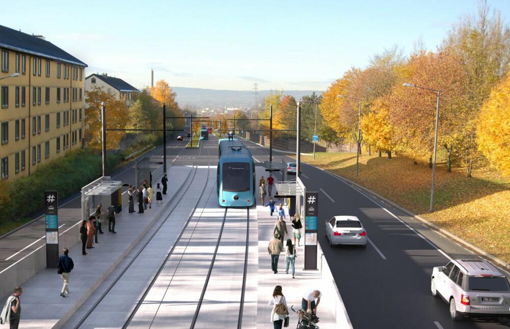 Trikken går allerede i egen bane opp til Sinsen på Trondheimsveien. I fremtiden vil man strekke den videre oppover til Tonsenhagen, og på veien vil en trolig måtte ta plass fra dagens motorvei.