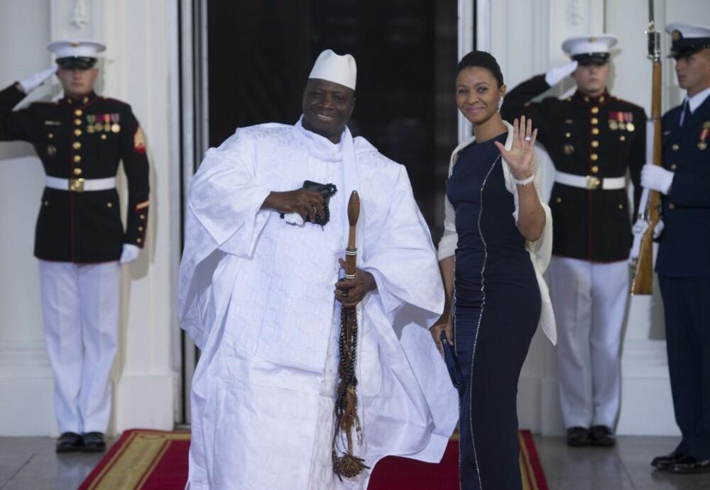 IKKE INFORMERT: Yahya Jammeh informerte ikke sin kone om at han hadde tenkt å gifte seg med en dame til. Her fra et besøk i Det hvite hus i 2010.