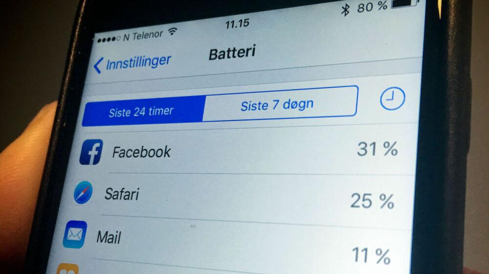 Facebook hevder de har fikset problemet med at Facebook-appen stjeler strømmen fra iPhone-batteriet. Strømforbruket de siste 24 timene på Side3s iPhone 6S viser at appen fremdeles bruker svært mye strøm.