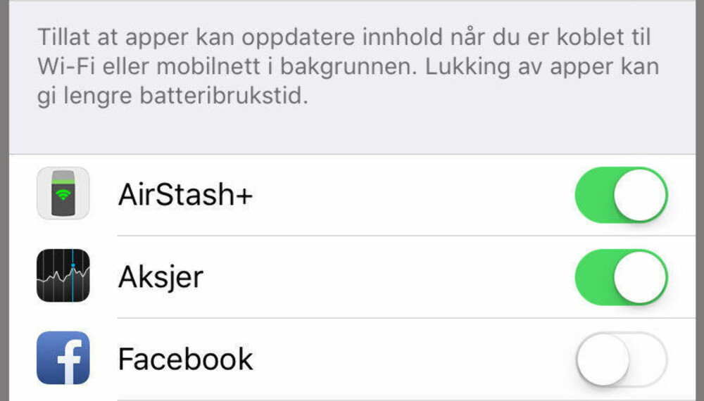 """SLÅ AV BAKGRUNNSOPPDATERINGEN TIL FACEBOOK-APPEN: Åpne """"Innstillinger"""" på iPhone. Gå til """"Generelt"""". Velg """"Bakgrunnsoppdatering"""". Slå av bakgrunnsoppdateringen ved å flippe bryteren for Facebook."""