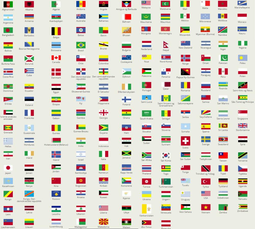 FN lister opp 200 av sine 193 medlemsland på denne måten.