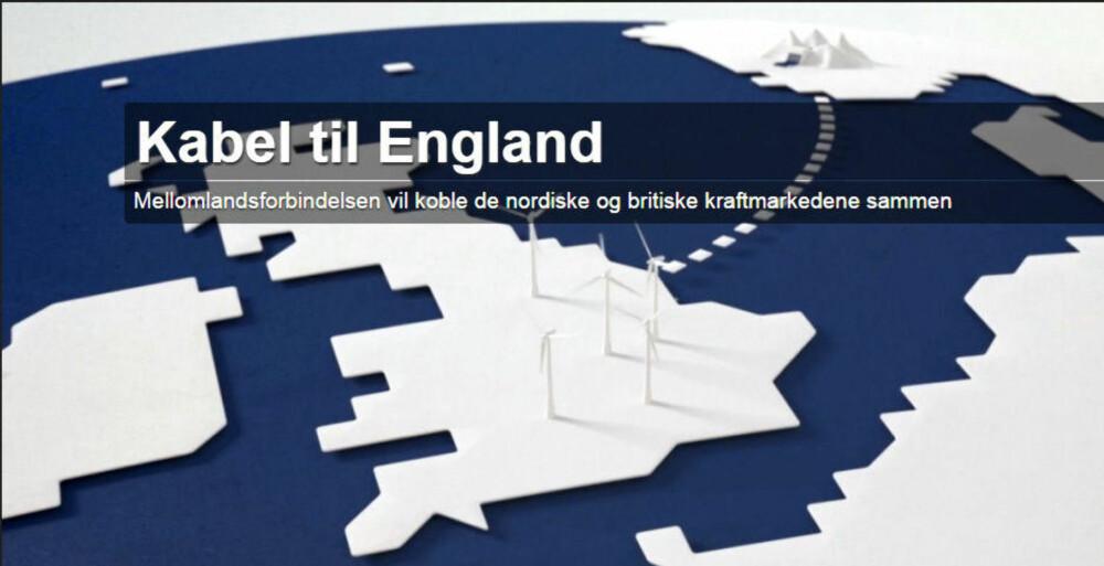 Statnetts illustrasjon av kabelen til England.