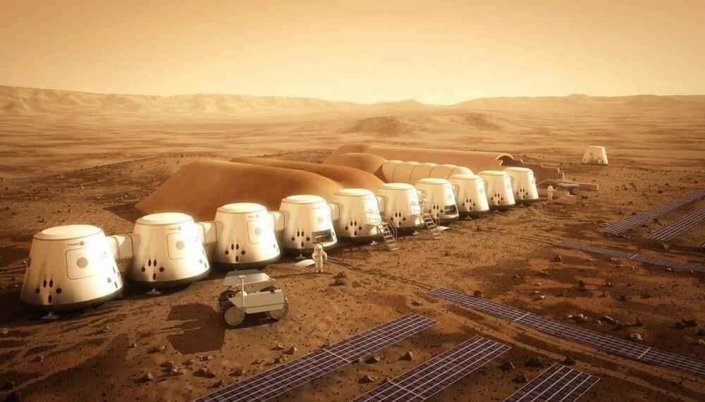 MARSBASE: Slik forestiller Mars One seg at marsfarerne skal bo. Strømmen basen trenger, blir levert av store solpaneler som også gir strøm til anleggene som lager vann av smeltet is fra marsjorden.