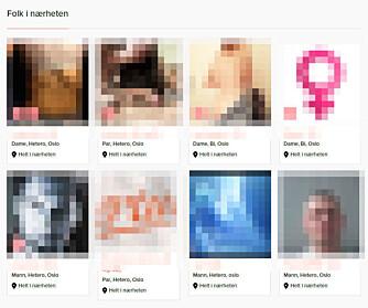SOSIALT SEXNETTVERK: Den nye, norske sexsiden har profilbilder du ikke finner på verken Tinder eller Sukker, og levner liten tvil om hva som er målet for medlemskapet.