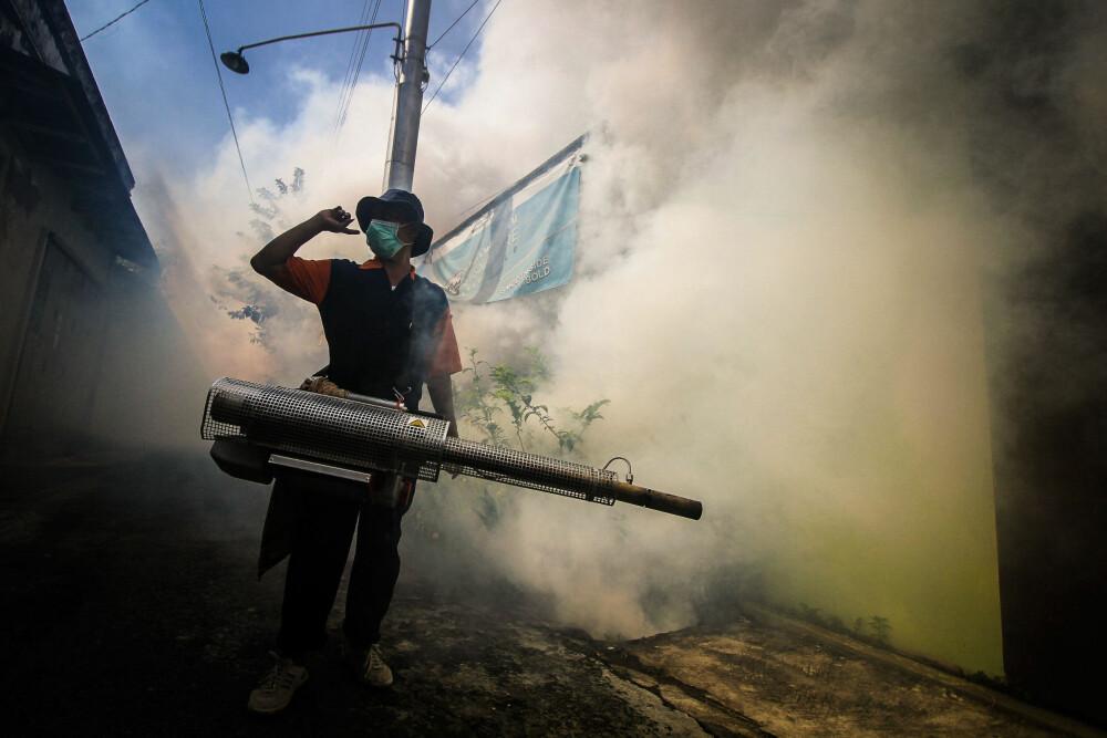 En mann i Surukarta i Indonesia forsøker å få bukt med myggen med giftig gass.