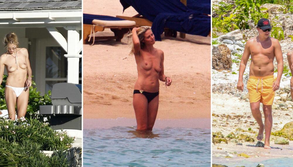 STADIG TOPPLØS: Heidi Klum blir stadig avbildet toppløs. Her (fra venstre) på St. Barth i Frankrike, i Porto Cervo på Sardinia og i Tulum i Mexico sammen med Vito Schnabel.