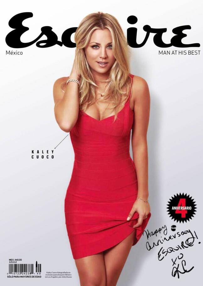<b>FORSIDEPIKE:</b> Kaley Cuoco på forsiden av Esquire i 2012.