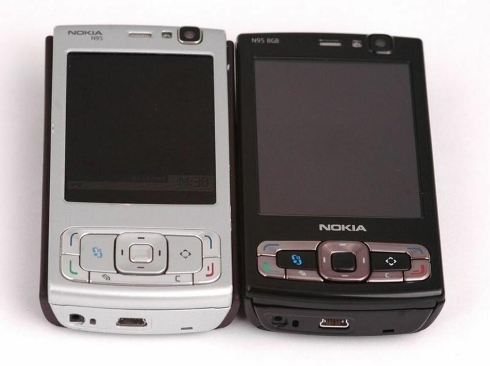 SLUTTEN: N95 og oppfølgeren N95 8GB (til høyre) var de siste relevante mobiltelefonene Nokia laget.