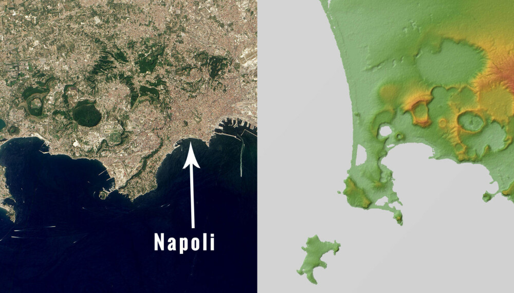 LEVER FARLIG: På bildet til venstre har vi merket av byen Napoli. Kartet til høyre viser supervulkanens utstrekning.