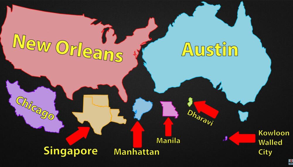 Arealet på en by som skal ha plass til hele verdens befolkning - avhengig av befolkningstetthet.