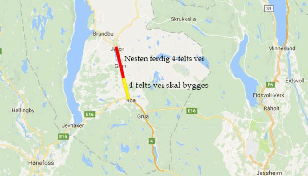 På Hadeland bygges det noen kilometers bokstavelig talt på et jorde langt unna annen høykapasitetsvei.