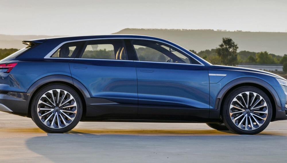 FØRST OVER MÅLLINJA: Audi e-Tron ser ut til å komme på markedet, før det er mulig å få tak i både Opel Ampera-e og Tesla Model 3 for nye kunder.