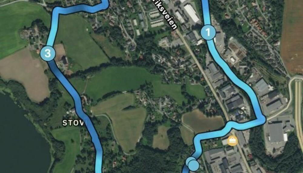 GPS PÅ IPHONE: Dette er den samme ruta som på bildet over, registrert med en iPhone 7 via appen Endomondo. Fenix 5 logget en tur på 4,4 km mens iPhone logget den samme turen på 4,6 km.