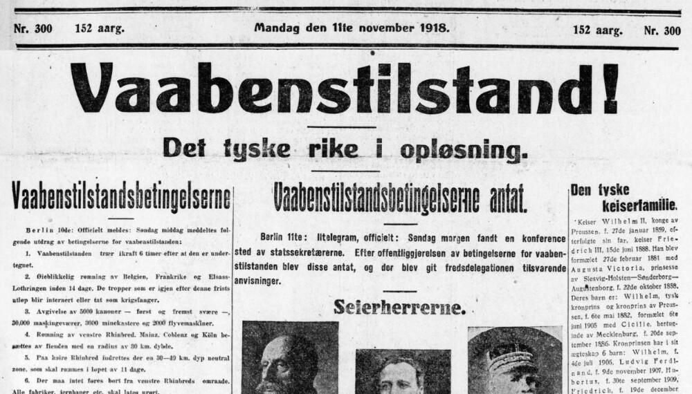 Adressavisen, da Trondhjems Adresseavis, mandag 11.november 1918. (Bildet er redigert ved at rubrikkannonsene i toppen er fjernet)