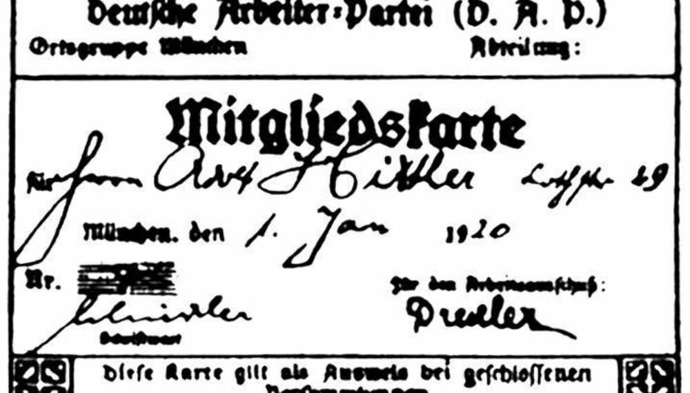 Adolf Hitlers medlemskort i DAP.
