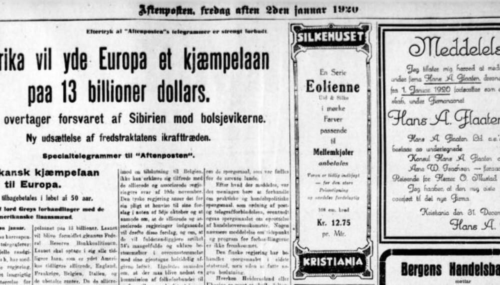 Etter krigen hadde Europa et stort behov for kapital, og USA ga store lån til sine allierte venner. Fra Aftenposten 1920.