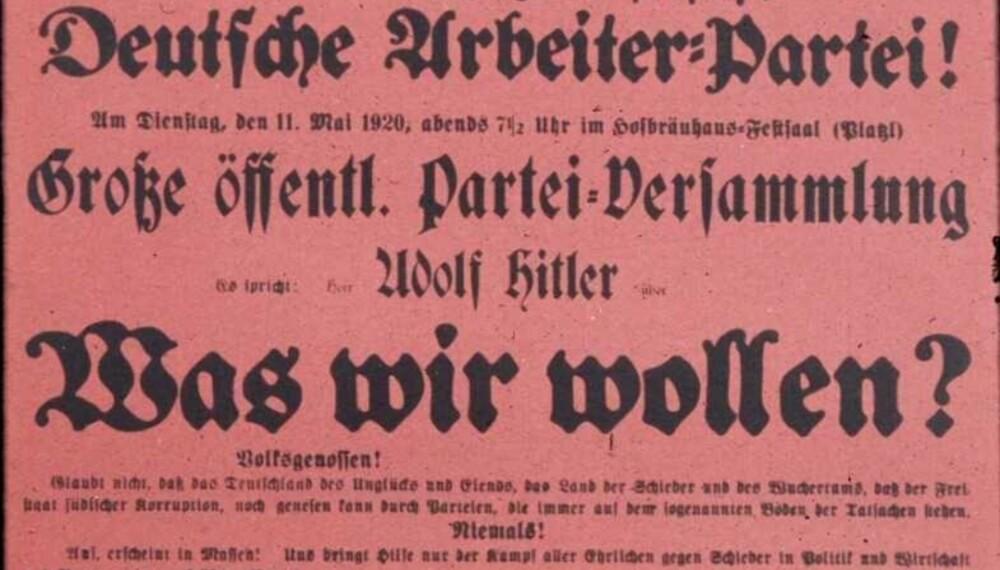 Løpeseddel for en av Hitlers mange taler.