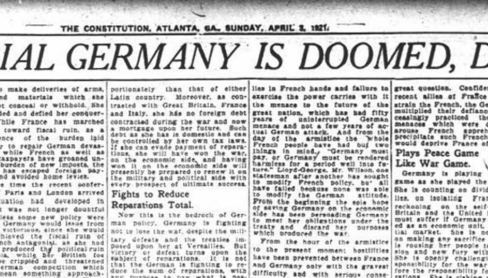 Amerikanske aviser, her representert ved The Constitution i Atlanta, var klare på at krigserstatningene ville medføre store problemer for Tyskland.