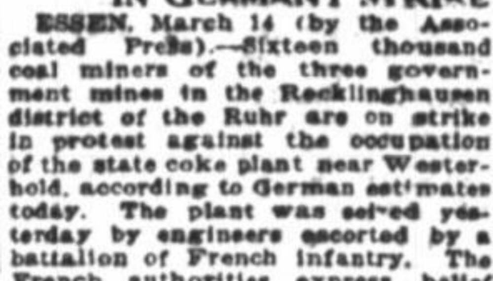 Oppslag i San Francisco Chronicle i mars 1923