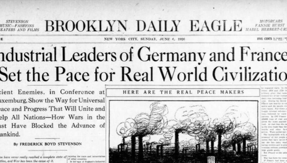 I 1926 rår det optimisme i Europa, også for en fredelig løsning med industriell vekst. Slik som her rapportert i avisen Brooklyn Daily Eagle.