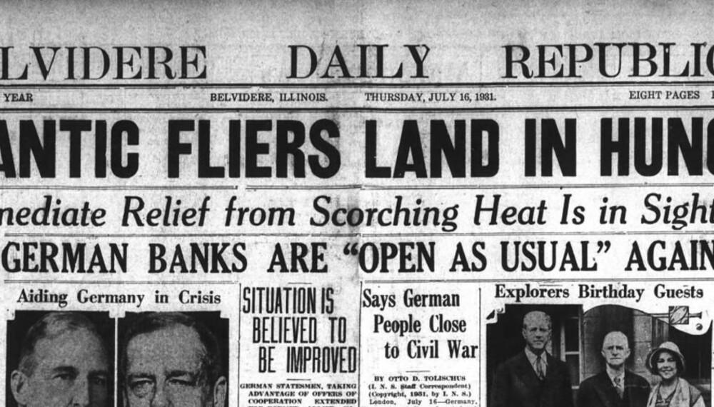 Den tyske krisen ble behørlig dekket over hele verden.