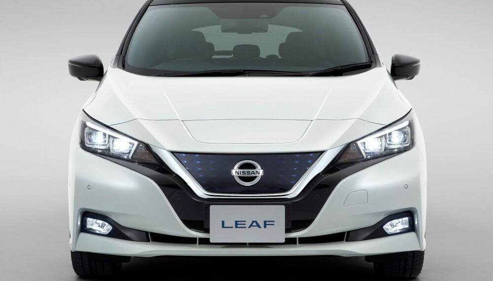 Slik ser nye Nissan Leaf ut rett forfra.