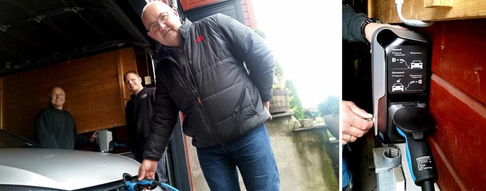 FØLGER FORSKRIFTENE: Bjarne Johannessen har kjørt hybridbil i over to år. Nå kommer hjemmeladeren på plass. Elektriker Helge Rognes og Montør Allan Monrad regner med at de vil få mye å gjøre i årene som kommer.