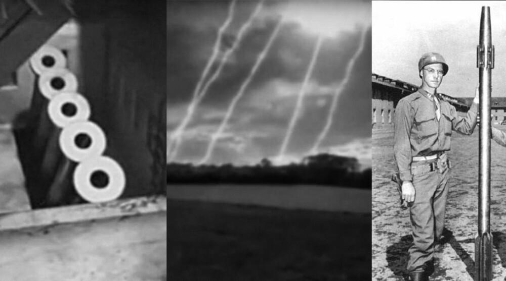 V-3: 50 kanoner, fordelt på 10 batterier, skulle skyte 6 skudd i sekundet mot London fra Paris. Prosjektet ble nesten ferdig.