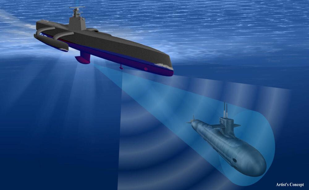 SPIONDRONE: Detaljene rundt ACTUV er hemmelige, men formålet er klart: Dronen skal finne og jakte fiendtlige ubåter. Det finnes ingen mennesker om bord.