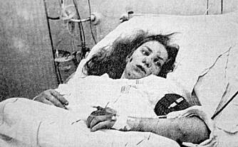 OVERLEVDE: Ellen Kvan på sykehuset kort tid etter ulykken. Hun slet med hodepine i 25 år, men klarte allikevel å ha et yrkesaktivt liv.