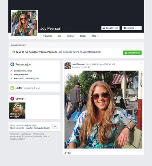 FALSK PROFIL: Dette er Facebook-profilen til Joy. Bildene florerer på sosiale medier og benyttes av grådige, nigerianske bander.