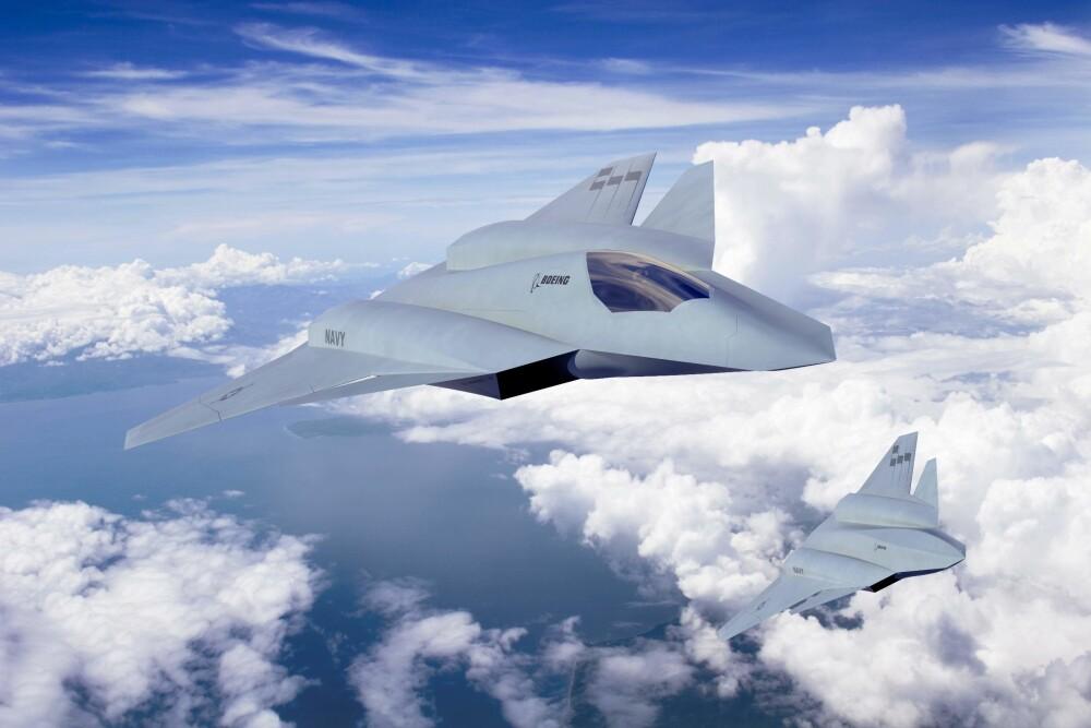 KUNSTIG INTELLIGENS: Framtidens kampfly kan komme med annenpiloten ferdig installert. Slik forestiller Boeing seg at sitt 6. generasjons jagerfly kan se ut.