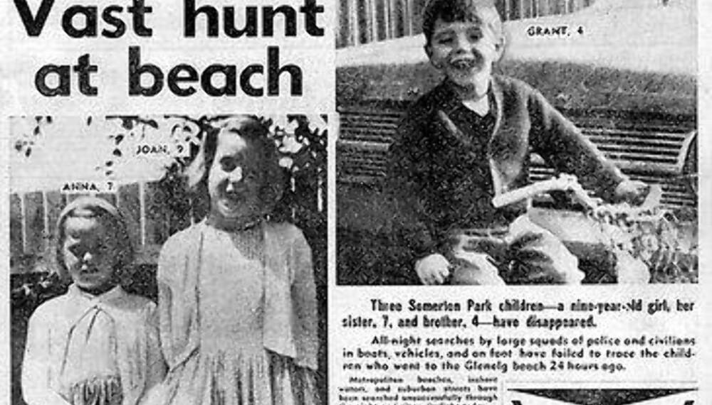 SPORLØST FORSVUNNET: Forsvinningen til de tre Beaumont-barna sendte sjokkbølger gjennom det australske samfunnet. Frem til forsvinningen var det ikke uvanlig at unge barn fikk ferdes på egen hånd over større strekninger. Her en avisforside dager etter forsvinningen.