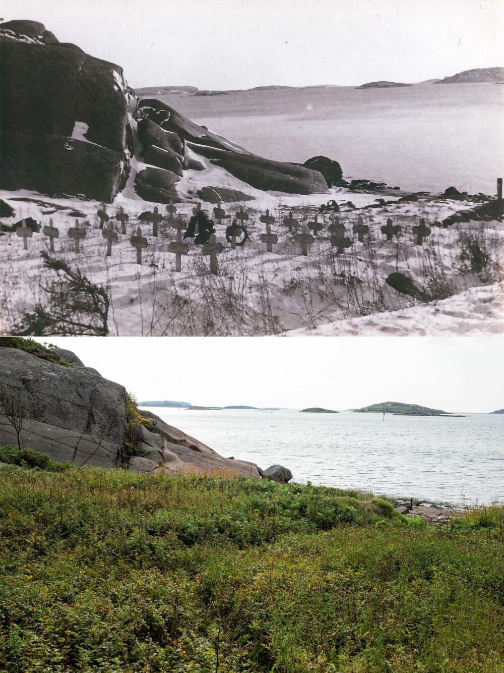 GRAVPLASS: Gravplassen på sydsiden av øya inneholdt 28 fangegraver som ble flyttet i 1953. I dag er området en strandidyll.