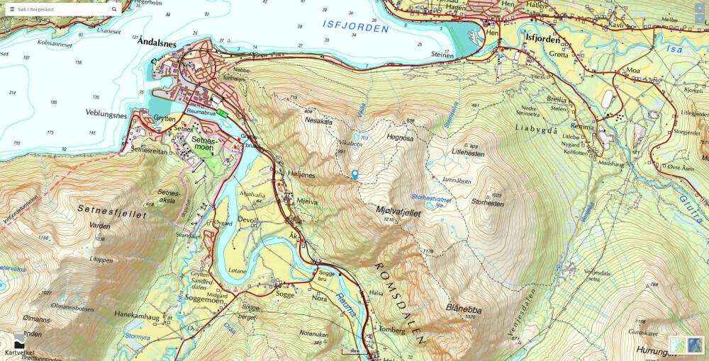<b>KART OVER ROMSDALSEGGEN:</b> På norgeskart.no kan du lage ditt eget turkart over Romsdalseggen.
