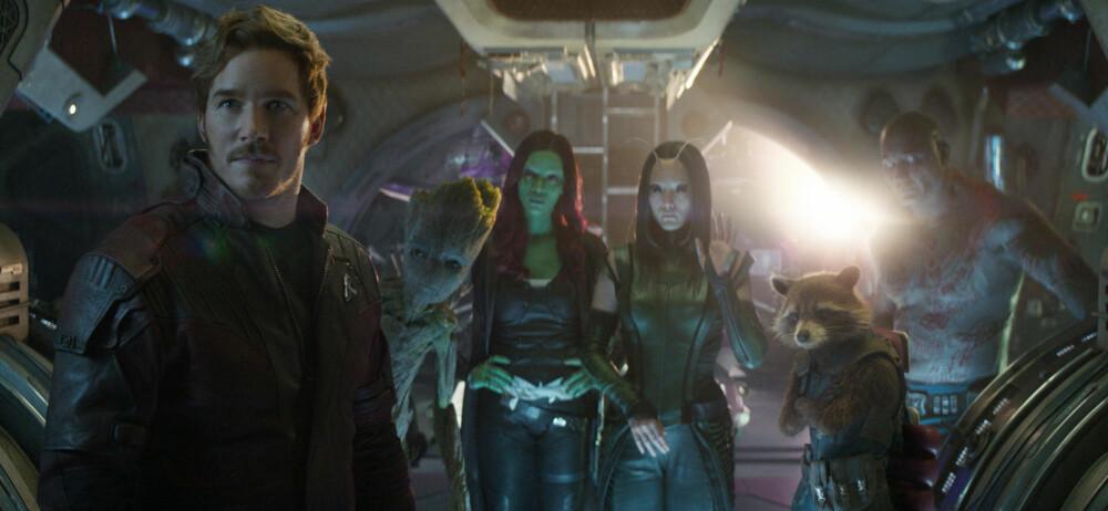 GUARDIANS: Gjengen fra Guardians of the Galaxy dukker også opp i Avengers: Infinity War: Star-Lord/Peter Quill (Chris Pratt), Groot (Vin Diesel), Gamora (Zoe Saldana), Mantis (Pom Klementieff), Rocket (Bradley Cooper) og Drax (Dave Bautista).