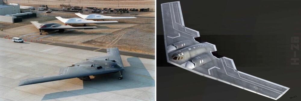 <b>STRATEGISK BOMBEFLY H-20:</b> Illustrasjonen til høyre er hvordan designeren Bai Wei ser for seg at Kinas nye bombefly H-20 kan se ut. Designet minner unektelig om USA B-2 Spirit (til venstre) og det kommende B-21.